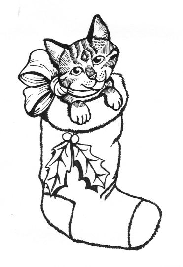 Christmas Cat Coloring Pages 14