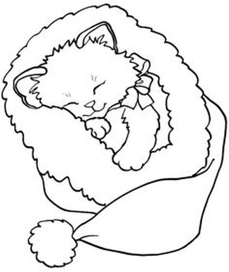 Christmas Cat Coloring Pages 17