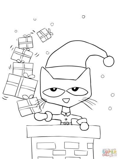Christmas Cat Coloring Pages 18