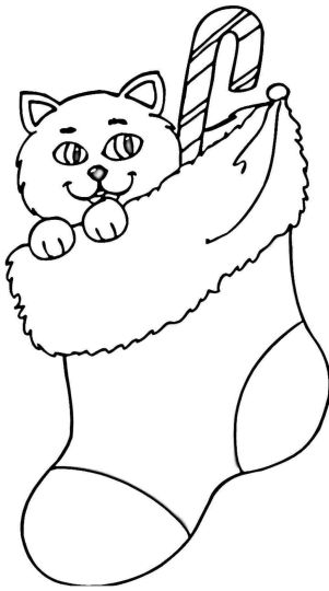 Christmas Cat Coloring Pages 20