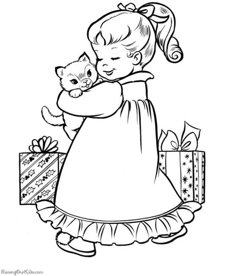Christmas Cat Coloring Pages 24