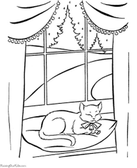 Christmas Cat Coloring Pages 25