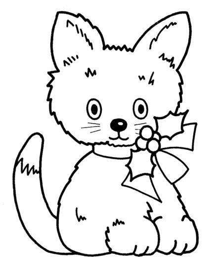 Christmas Cat Coloring Pages 3