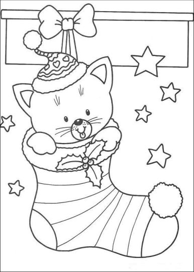 Christmas Cat Coloring Pages 30