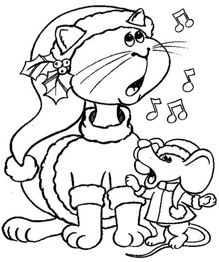 Christmas Cat Coloring Pages 31