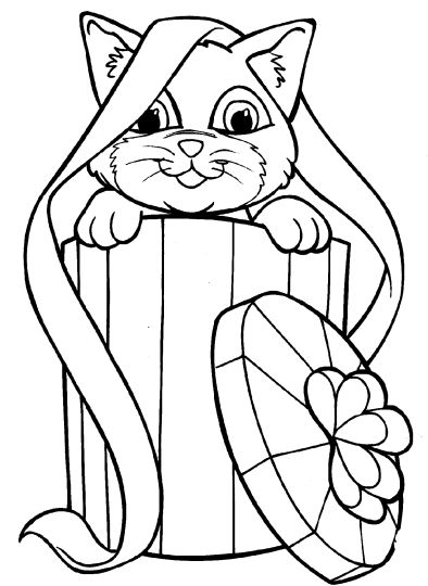 Christmas Cat Coloring Pages 33