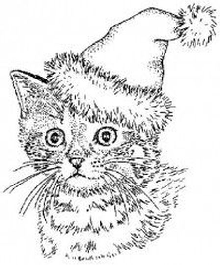 Christmas Cat Coloring Pages 35