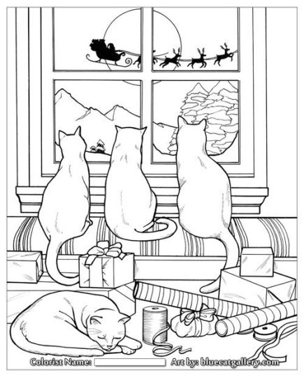 Christmas Cat Coloring Pages 36