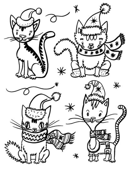Christmas Cat Coloring Pages 37