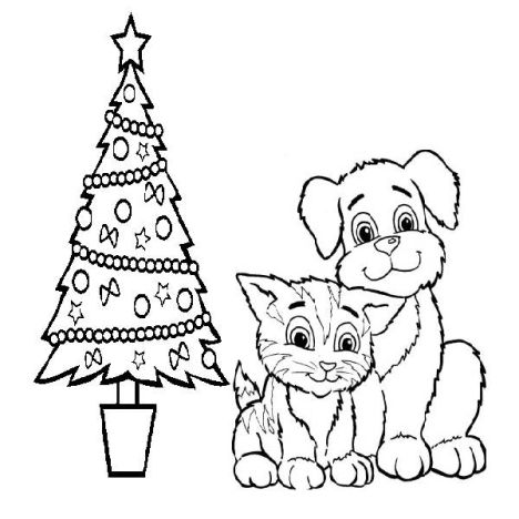 Christmas Cat Coloring Pages 38