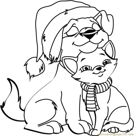 Christmas Cat Coloring Pages - Part 1