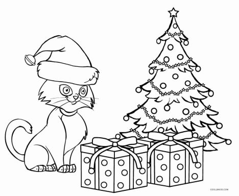 Christmas Cat Coloring Pages 5