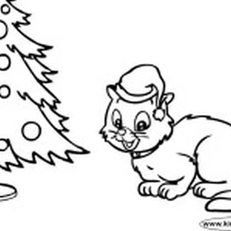 Christmas Cat Coloring Pages 6