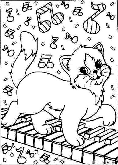 Christmas Cat Coloring Pages 7
