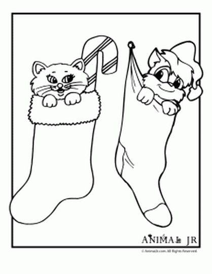 Christmas Cat Coloring Pages 9