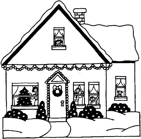 Christmas House Coloring Pages 1