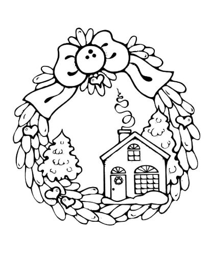 Christmas House Coloring Pages 11