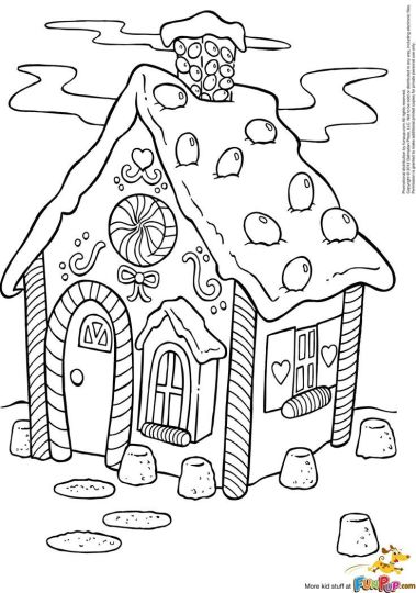 Christmas House Coloring Pages 4