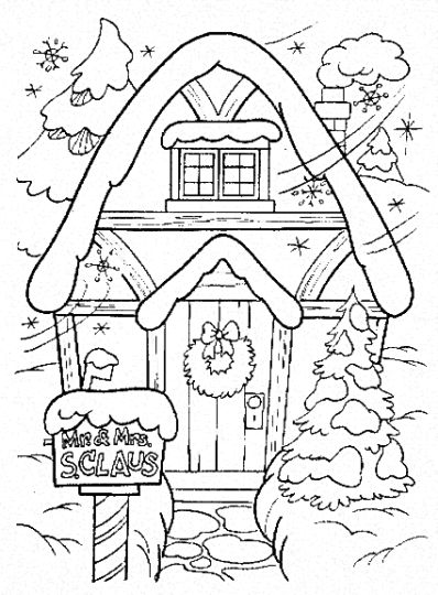 Christmas House Coloring Pages 5