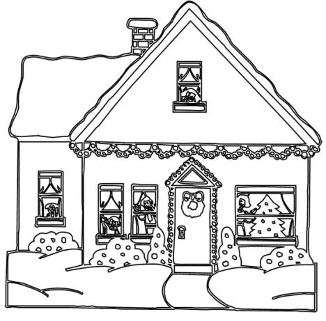 Christmas House Coloring Pages 7