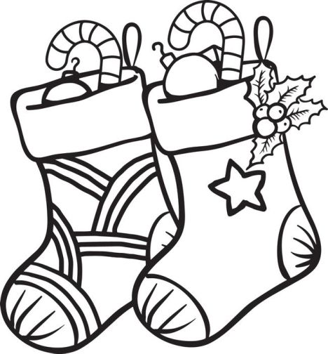 Christmas Stocking Coloring Pages For Kids 1