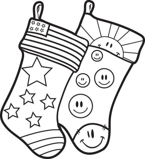 Christmas Stocking Coloring Pages For Kids 2