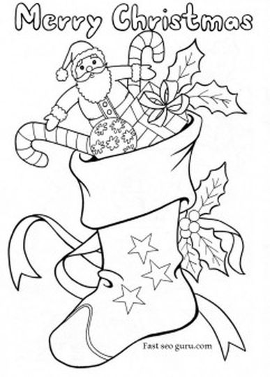 Christmas Stocking Coloring Pages For Kids 25