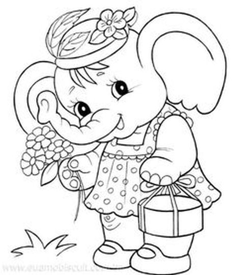 Cute Baby Elephant Coloring Pages 10