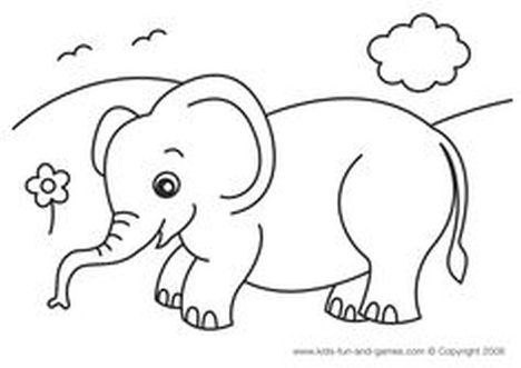 Cute Baby Elephant Coloring Pages 12