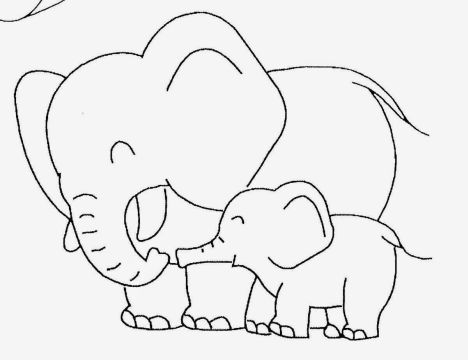 Cute Baby Elephant Coloring Pages 14