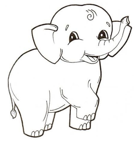 Cute Baby Elephant Coloring Pages 15
