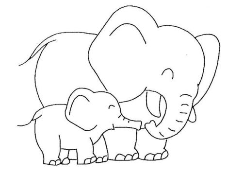 Cute Baby Elephant Coloring Pages 18