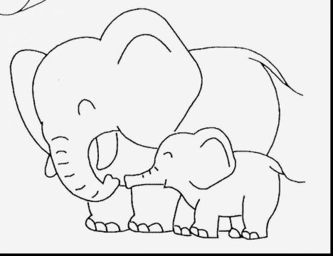 Cute Baby Elephant Coloring Pages 24