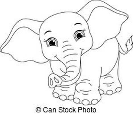 Cute Baby Elephant Coloring Pages 25