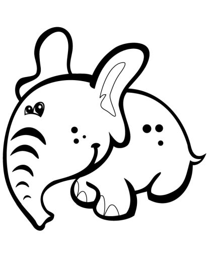 Cute Baby Elephant Coloring Pages 31