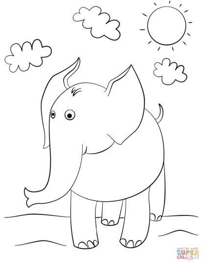 Cute Baby Elephant Coloring Pages 32