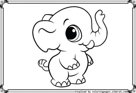 Cute Baby Elephant Coloring Pages 35