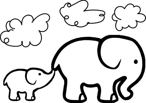 Cute Baby Elephant Coloring Pages 37