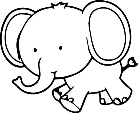 Cute Baby Elephant Coloring Pages 4