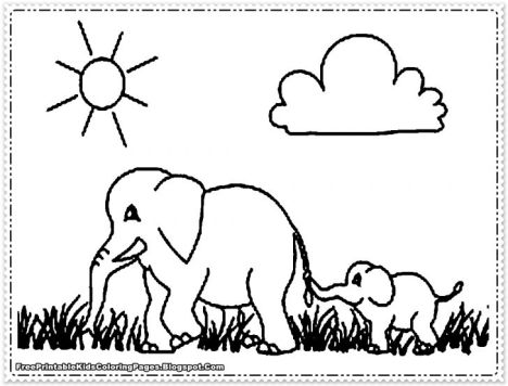 Cute Baby Elephant Coloring Pages 43