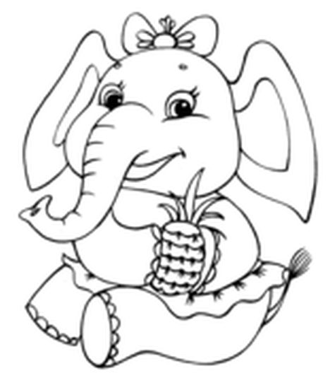 Cute Baby Elephant Coloring Pages 44