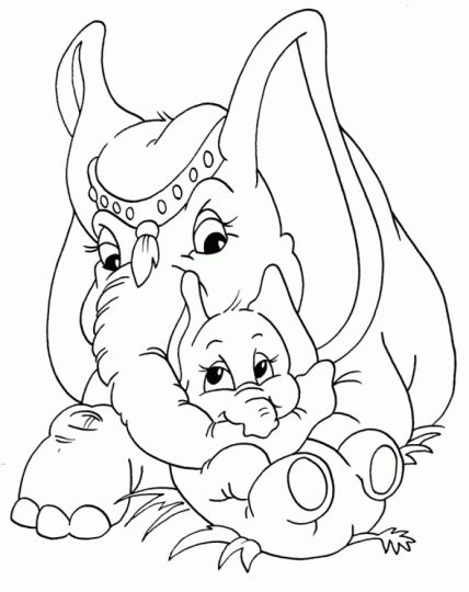 Cute Baby Elephant Coloring Pages 49