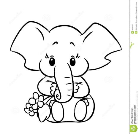 Cute Baby Elephant Coloring Pages 6