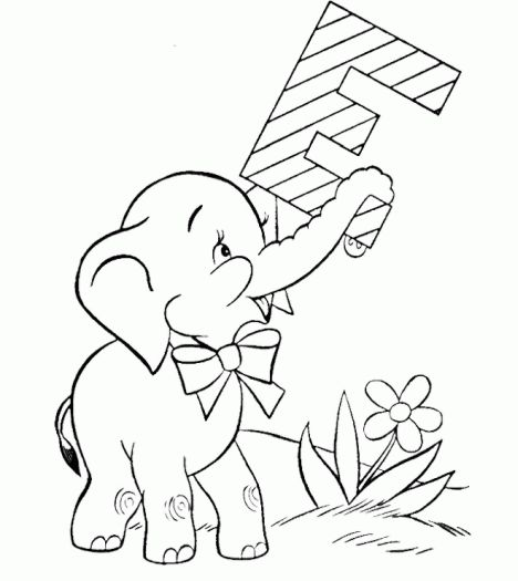 Cute Baby Elephant Coloring Pages 8