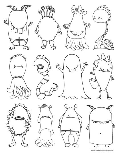 Cute Monster Coloring Pages 19