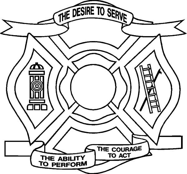Fire Department Maltese Cross Coloring Page 1