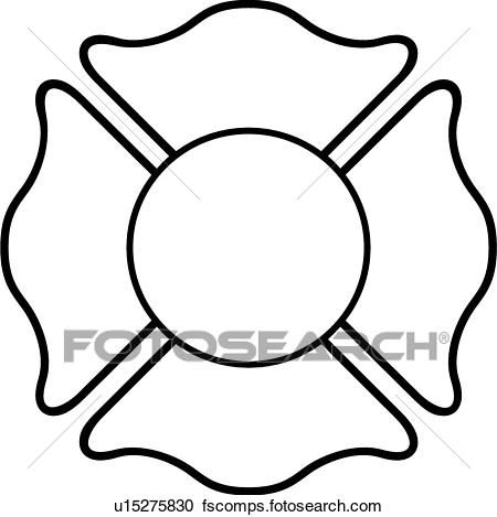 Fire Department Maltese Cross Coloring Page 19