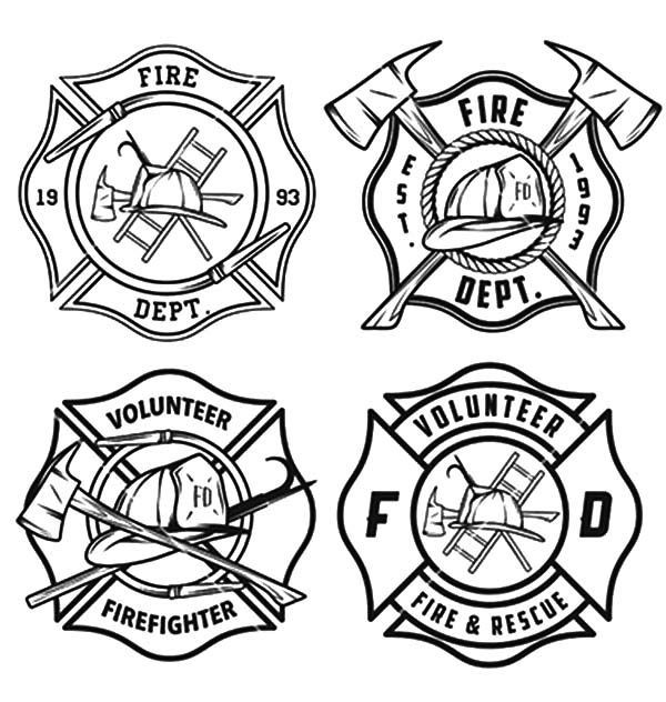 Fire Department Maltese Cross Coloring Page 2