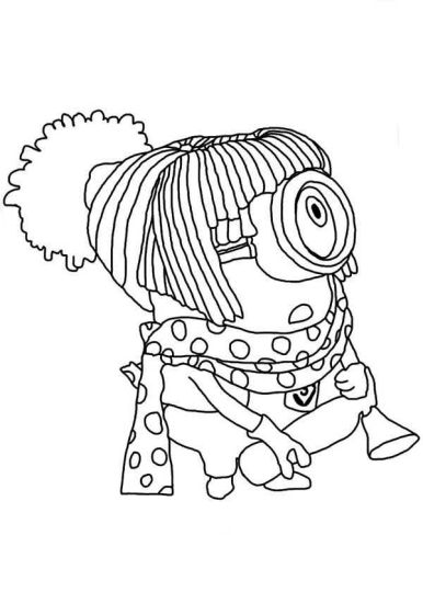 Minions Christmas Coloring Pages