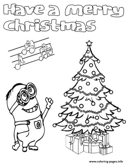Minions Christmas Coloring Pages 2